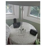 Wicker Accent Table & Lucite Lighting
