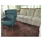 Leather Tufted Wing Chair & Fabric Sofa