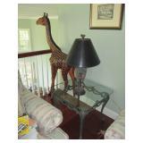 Large Giraffe & Glass & Iron Tables
