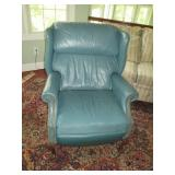 Green Tufted Wing Chair