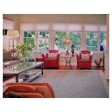 Grandinroad Red Leather Chairs with Ottomans
