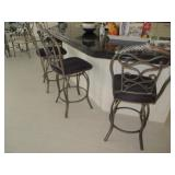 Four Wrought Iron Swivel Counter/bar Seating wth Cushion Fabric Seating