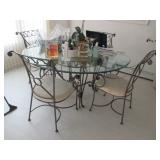 Beautiful Wrought Iron Glass Top Table With Four Chairs