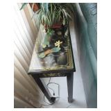 Asian Inspired Rounded Hand Painted Accent Cabinet & Console Table