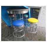 Colorful Pub Style Table with Four Stools