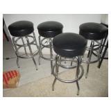 Four Black Leather Pub/Bar/Counter Stools