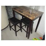 Marble Top Pub Style Table with Two Leather Benches