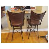 Four Leather Counter/Bar Seats Swivel
