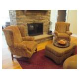 Ethan Allen Wing Chair Seating ~ Ottoman & Rugs