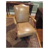 Swivel Ethan Allen Tufted Leather Office Chair