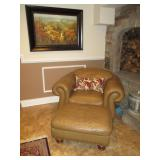 Thomasville Tufted Leather Chair with Orroman ~ Wall Art