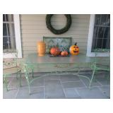 Vintage Wrought Iron Original Patio Suite With Glass Top Table