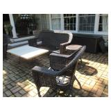 Outdoor Wicker Sofa Patio Suites with Cushions & Firepit
