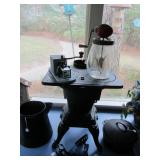 Antique King Cast Iron Stove, Dazey Churn, coffee grinder, more