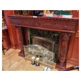 Etched Glass Fire Screen