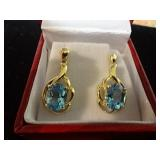 10 K Blue Topaz Earrings