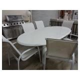 White Patio Table w/6 Chairs