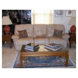 leather reclining sofa, rug, Oriental style coffee and end tables, books, lamps, etc.