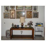 sofa table, framed Oriental art, cloisonne