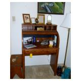 small roill top desk, brass floor lamp, etc.