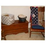 Lane cedar chest, linens, frames, etc.