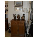 cabinet, pottery, framed art, etc.