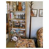 porcelain, fish, shells, coat tree, wicker ottoman, etc.