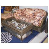 wicker sofa, ottoman, display coffee table, rug, etc.