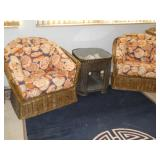 wicker chairs, wicker display end table, rug, etc.