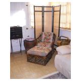 rattan chair and ottoman, basket, brass cart, screen, etc.
