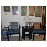 Porcelain ginger jar, Oriental style chairs, black lacquer nesting tables, framed silks, etc.