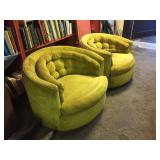 Mid Century swivel barrel chairs
