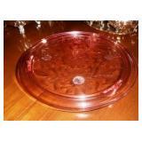 Pink Depression Cake Plate