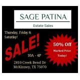 SAGE PATINA Hosts Magnificent McKinney Estate Sale!  50% Off Today!