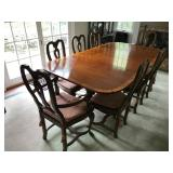 Georgian Style Mahogany Banded Double Pedestal Table by Baker Furniture