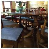Antique dining table seats 16 when fully extended