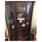 Curved Front Cabinet and Dishes