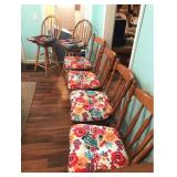 Four Wood Kitchen Chairs, Two Stools