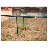 BUY IT NOW!  Lot #505, Thick Glass Coffee / Cocktail Table with Brass Accents, $80