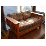 SOLD--Lot #506, Mission Oak Loveseat Sofa, $100, (Fair Condition)