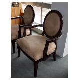 SOLD--LOT #100, Pair of Contemporary Neutral Upholstered Arm Chairs, $150