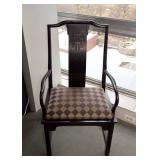 BUY IT NOW-LOT #105, Set of 6 Vintage Wood Asian Style Dining Chairs (4 Side Chairs + 2 Arm Chairs)