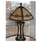 BUY IT NOW-LOT #109, Vintage/Antique Stained Slag Glass Lamp with Ornate Base, $400