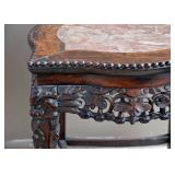 BUY IT NOW-LOT #123, Antique Ornately Carved Side / End Table with Inset Stone Top, $150
