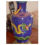 SOLD--LOT #146, Chinese Blue Cloisonne Lamp with Dragon & String Shade (Made from vase), $65