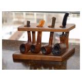 SOLD--LOT #151, Collection of 4 Wood Pipes with Stand, $35