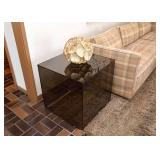 BUY IT NOW!  Lot #101, Smoky Glass Cube Side Table, $300