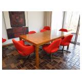 BUY IT NOW!  Lot #111, Burl Wood Dining Table (Red Chairs are NOT for Sale), damage on top, $1,000