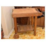 SOLD--LOT #203, Vintage Wood Kitchen Utility Cart with Cutting Board, $35