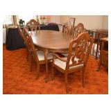 BUY IT NOW!  LOT #213, Vintage Dining Table with Leaves & 6 Chairs, $300